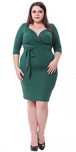 Sapphyra® Women's Plus Size Ruched Wrap Front Tie Belt Knee Length Shift Dress
