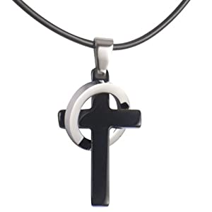 Men's Black Stainless Steel Elegant Cross Pendant Ring Necklace Jewelry