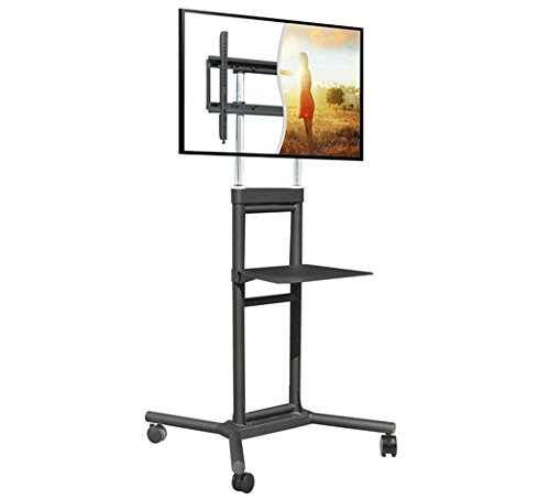 DoubleSight Mobile TV Cart/Stand with Shelf, Welded Construction, 32