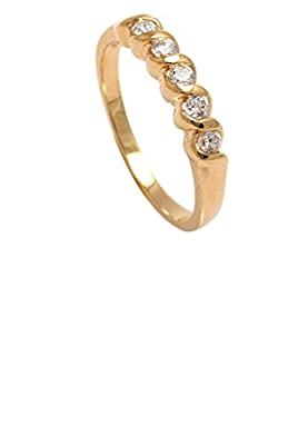 Simply Glamorous Jewellery-18ct Gold Filled Half Eternity Ring in 0.33ct Bezel Set Simulated Diamond