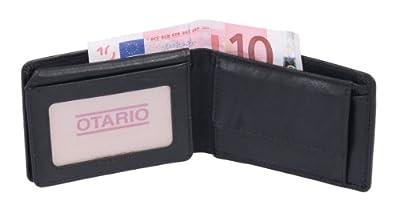 Petit portemonnaie OTARIO, cuir véritable, noir 10x7cm