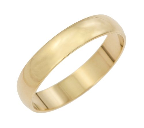 Men's Wedding Ring, 9 Carat Yellow Gold D Shape, 4mm Band Width