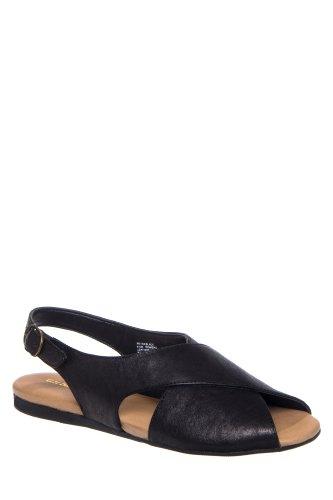 Bass Petra Peep Toe Slingback Flat Sandal