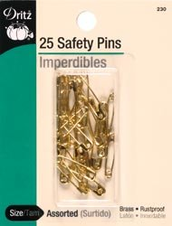 Dritz Safety Pins Assorted 22/Pkg 230; 6 Items/Order