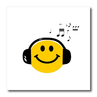 Ht_112819_1 Inspirationzstore Smiley Face Collection - Music Loving Yellow Smiley Face With Black Headphones And Musical Notes - Happy Dj - Deejay - Iron On Heat Transfers - 8X8 Iron On Heat Transfer For White Material