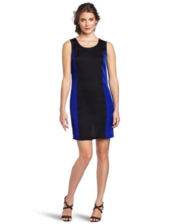 BCBGMAXAZRIA Women's Ike Colorblocked Shift Dress With Back Drape, Black Combo, X-Small