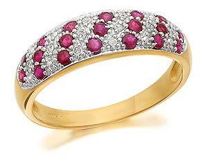 9ct Gold Diamond And Ruby Half Eternity Ring - M