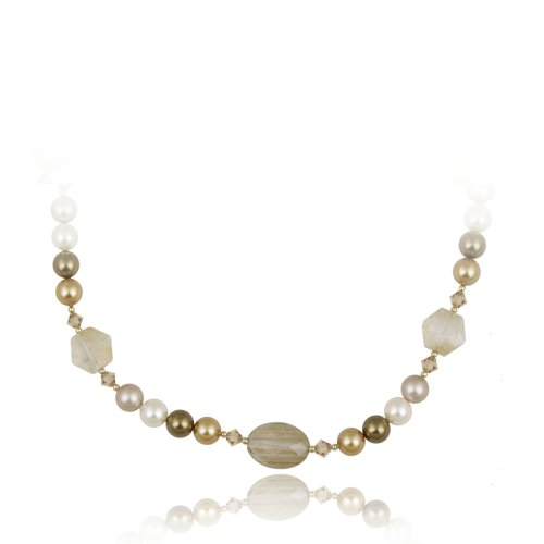 Stonique Creations Gold over Silver Quartz and Faux Pearl Necklace