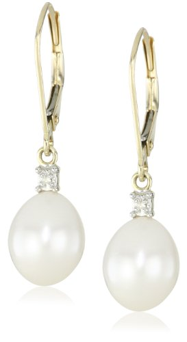 10k Yellow Gold Freshwater Cultured Pearl  Diamond-Accented