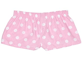 Boxercraft Womens 100% Cotton Flannel Comfy Pastel Pink with White Polka Dots Sleep Short Boxer (Medium)