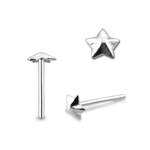 Piercingworld Plain Embossed Star 22Gx5/16 (0.6x8mm) 925 Sterling Silver Straight Nose Pin Piercing Jewelry