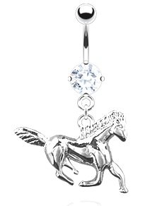 Body Accentz™ Belly Button Ring Navel Solitaire Horse Body Jewelry 14 Gauge