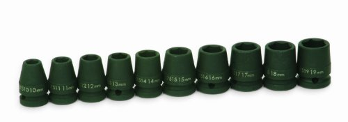 Jh Williams 37910 10-Piece 1/2-Inch Drive Metric Shallow 6 Point Impact Socket Set