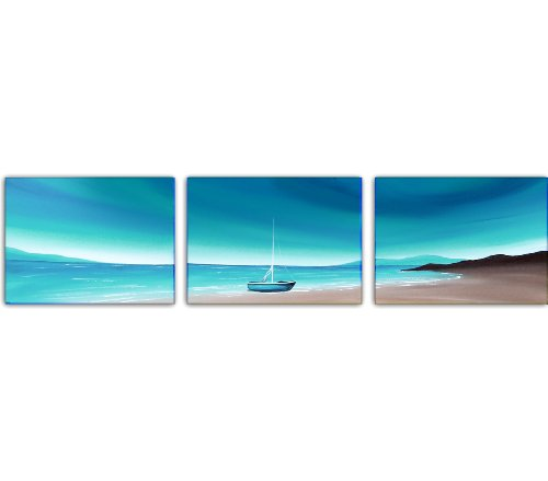 Seascape Original Canvas 3 Set Painting Wall Art - Teal and Brown - By SCA ART