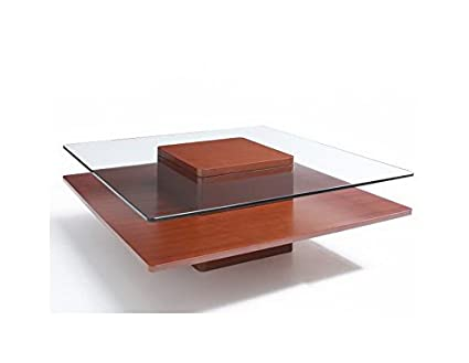 2000 Series Square Coffee Table with Tempered Glass Top in Cherry