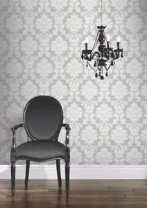 HB FW Regency Damask Wallpaper - Silver by New A-Brend