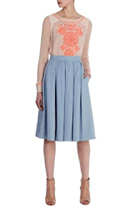 Full midi denim skirt