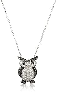 Sterling Silver Genuine Diamond Accent Owl Pendant Necklace , 18""