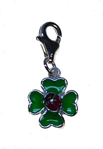 TF Charm: Lucky clover with small ladybird - Sterling Silver. 925
