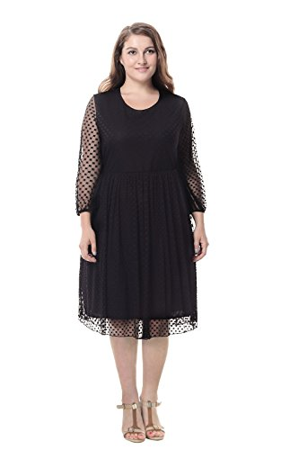 Sapphyra Women's Round Neck Plus Size Fit and Flare Cocktail Dresses Size 1X