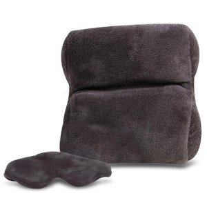 Travelon Luggage Ultra Fleece Travel Pillow And Eye Mask Set, Gray, Small