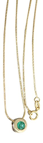 Hobra-Gold GOLDKETTE 585 MIT SMARAGD - SCHLANGENKETTE - COLLIER - COLLITÄR - SMARAGDKETTE