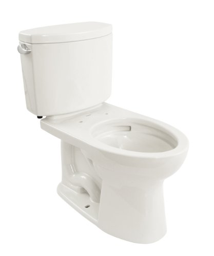 Toto Cst454Cefg#01 Drake Ii 2-Piece Toilet With Elongated Bowl And Sanagloss,1.28 Gpf, Cotton White front-189048