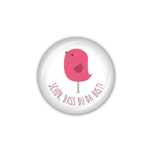 """lijelove Buttons, 04-01GH, """"Vögelchen"""" Schön, dass Du ... pink, pink, 25 mm"""