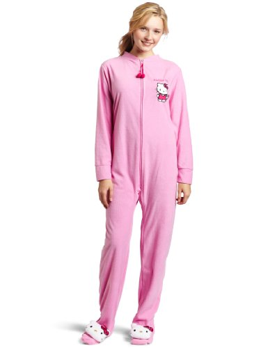 Hello Kitty Women's Long-Sleeve Solid Jumpsuit with Kitty Head On The Foot