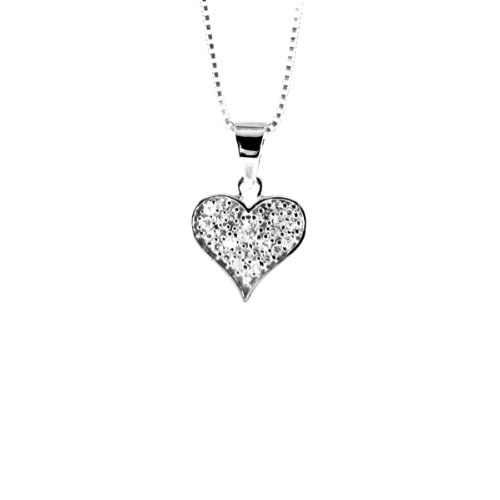 apop nyc Sterling Silver Micro Pave CZ Heart Pendant Necklace 18
