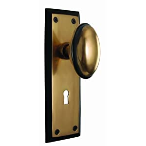 Nostalgic Warehouse 704580 Antique Brass New York Privacy Knobset from the New York Series with Homestead Knob and Key Hole