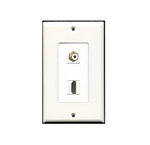 Riteav - 1 Rca White For Subwoofer / Audio And 1 Hdmi Port Wall Plate Decorat...
