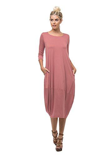 D6123 Ladies Round Neck Bubble Hem Long Dress W/ Pocket Marsala L