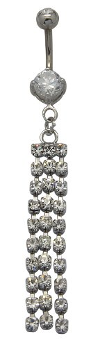 Pretty dangle belly ring by Avantgarde Jewels ? - clear Swarovski crystals - packed in a lovely velvet pouch - Surgical steel bar 3/8' (10MM)