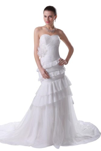 Orifashion Strapless White Fit and Flare Ruffled Tulle Bridal/Wedding Dress (Model BWGHER0004), US Size 2