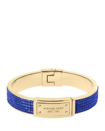 Michael Kors Mkj3202 Blue Crystal Pave Gold Bangle Bracelet