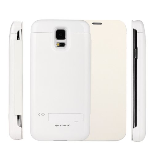 Galaxy S5 Case, Galaxy S5 Cases, Buddibox® Samsung Galaxy S5 Battery Case - [Power Glider] Extended (3200 Mah) Full Protection Protective Charger Case [Built In Kick Stand] Battery Case Cover For Samsung Galaxy S5 / Galaxy Sv / Galaxy S V (2014) - White G front-51971