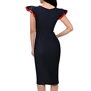 Miusol Women's Buiness Navy Style Deep-V Neck Vintage Bodycon Pencil Dress