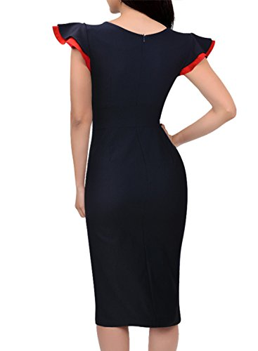 Miusol Women's Buiness Navy Style Deep-V Neck Vintage Bodycon Pencil Dress 1