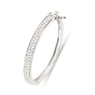 Childrens Sterling Silver CZ Bangle - S00097 - Width 6mm - Diameter 47mm.