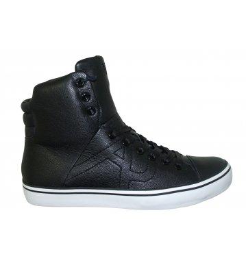 Scarpe sneakers alte Armani Jeans da uomo in pelle liscia nera, stringata, 43
