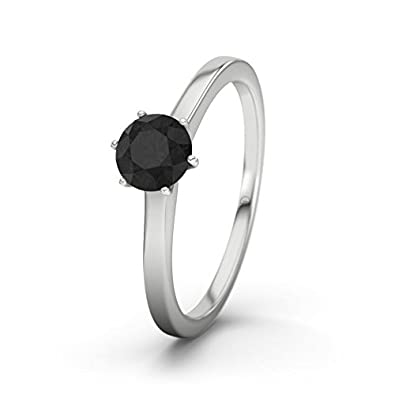 21DIAMONDS Women's Ring Azores Black Round Brilliant Cut Diamond Engagement Ring - Silver Engagement Ring