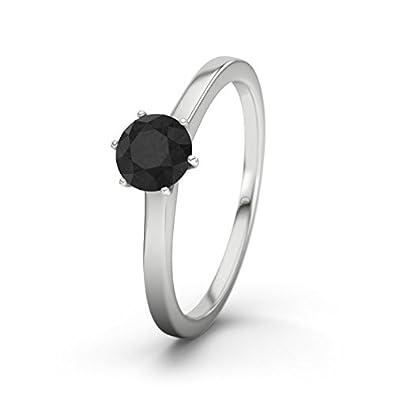 21DIAMONDS Women's Ring Azores Black Round Brilliant Cut Diamond Engagement Ring-Silver Engagement Ring