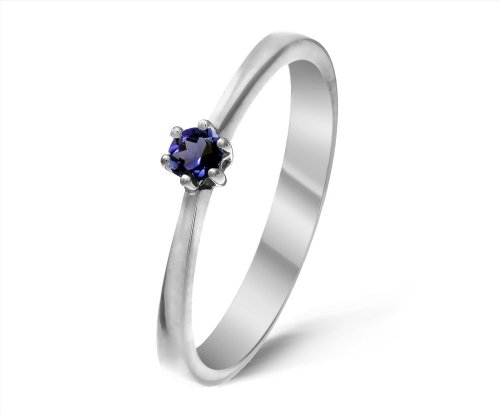 Modern 9 ct White Gold Ladies Solitaire Engagement Ring with Iolite 0.20 ct