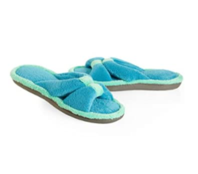 Women's Cabanas Microterry Center Keeper Slide Slippers, 8.5/9 Lagoon/Mojito