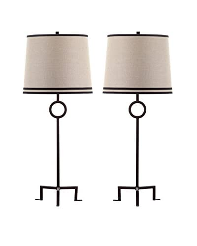 Safavieh Set of 2 Shotwell Table Lamps, Bronze/Natural