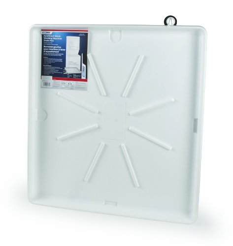 "Camco 20762 30""OD x 28"" Washing Machine Drain Pan for Stackable Units w/PVC Fitting (White)"