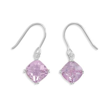 Checkerboard Cut Lavender CZ Earrings on French Wire