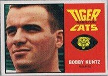 1964 Topps CFL (Football) Card# 38 Bobby Kuntz of the Hamilton Tiger Cats VGX Condition