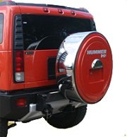 "2005-2010 Hummer H2 MasterSeries Hard Tire Cover -Painted Plastic Face with Polished Stainless Steel Ring (20"" Wheel) - Birch White"